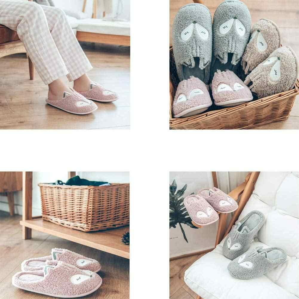 Indoor Warm Frauen Hausschuhe Nette Tier Fox Einhorn Winter Pelz Hause Schuh Weibliche Mädchen Rutschfeste Speicher Schaum Baumwolle Haus Hausschuhe