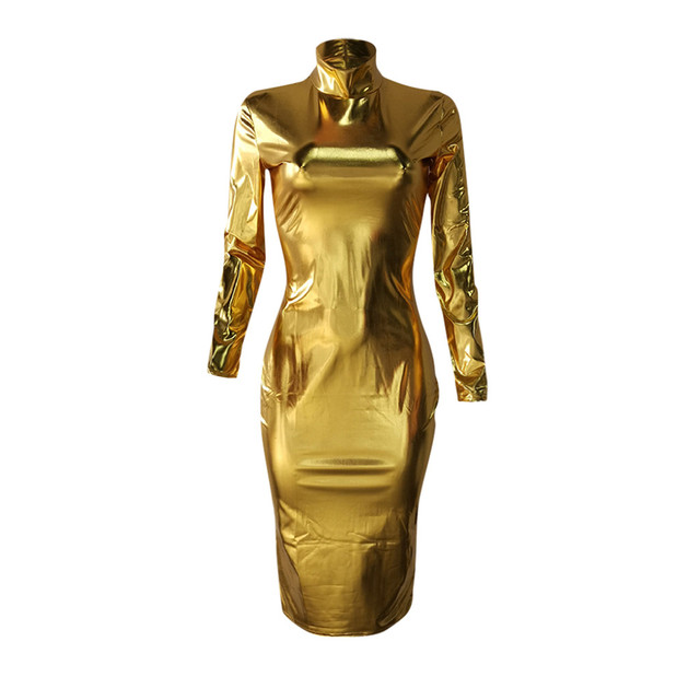Womail Dress Women elegant long sleeve Hight Collar Bodycon Slim Fit Party sexy 2020 Gold Silver dress autumn party club outfits 4