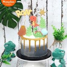 Roar Jurassic Dinosaur Cake Topper Cartoon Birthday Cake Decoration Boy Happy Birthday Cake Decoration Party Supplies dinosaur roar