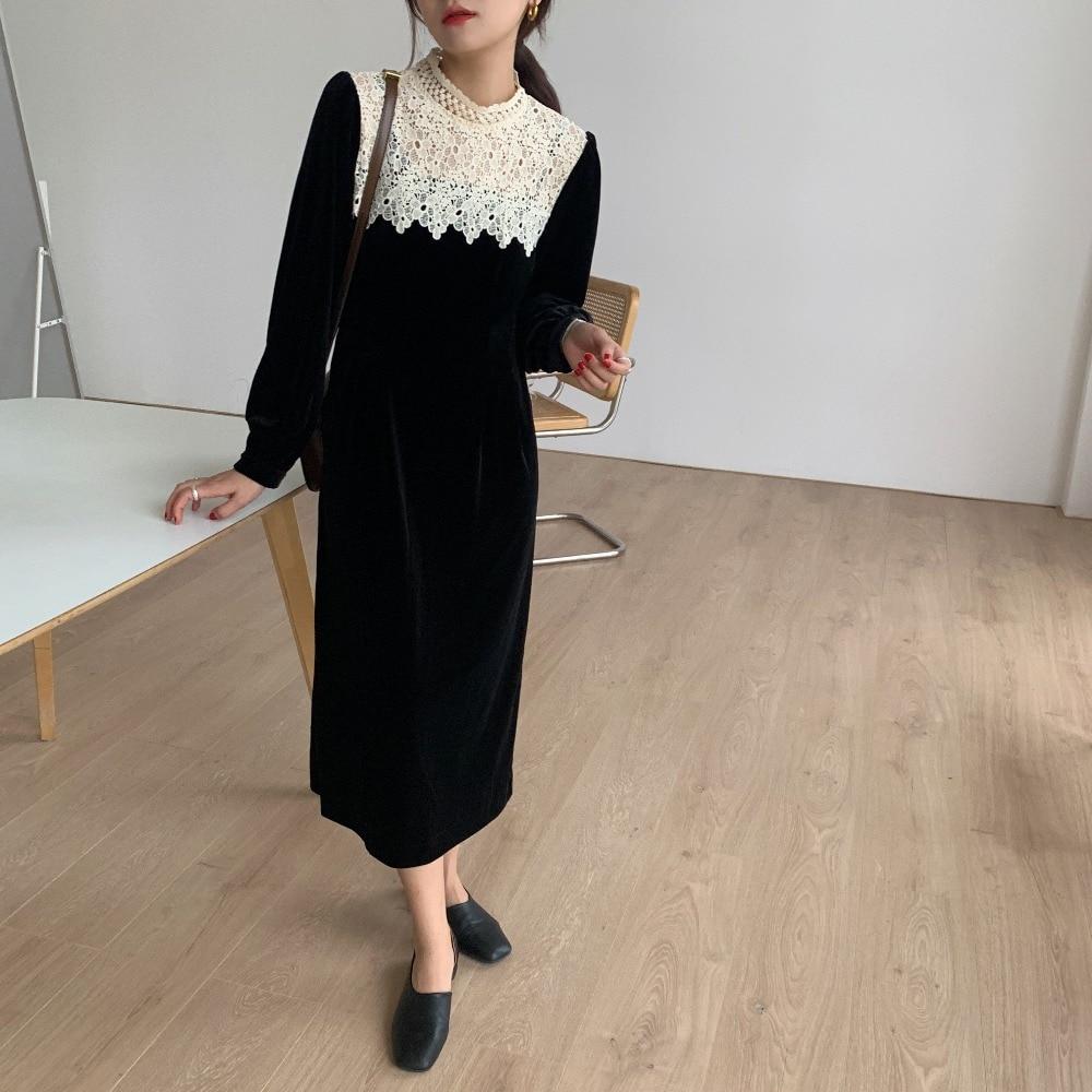 Hdc40a86e45314626aa5831429f7c064cN - Autumn / Winter Korean O-Neck Long Sleeves Lace Patchwork Midi Dress