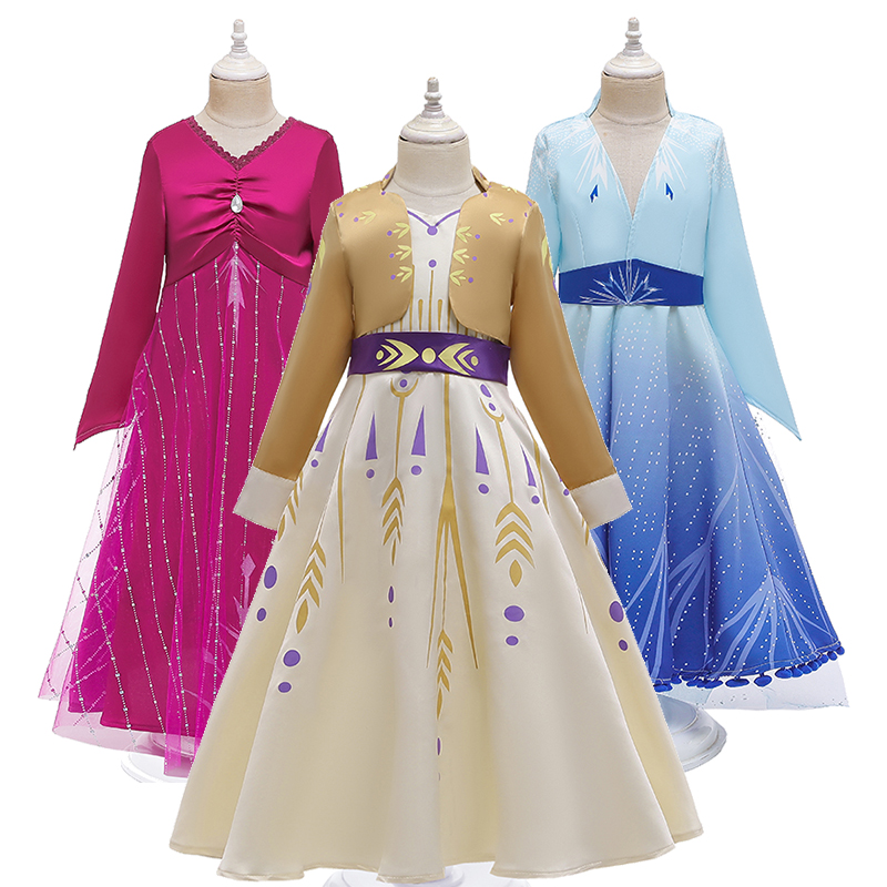 New Snow Queen Princess Cosplay Ice Snow Story 2 Anna Elsa Princess Dress Festival Party Leisure Snow Queen Fantasy Girl Dresses