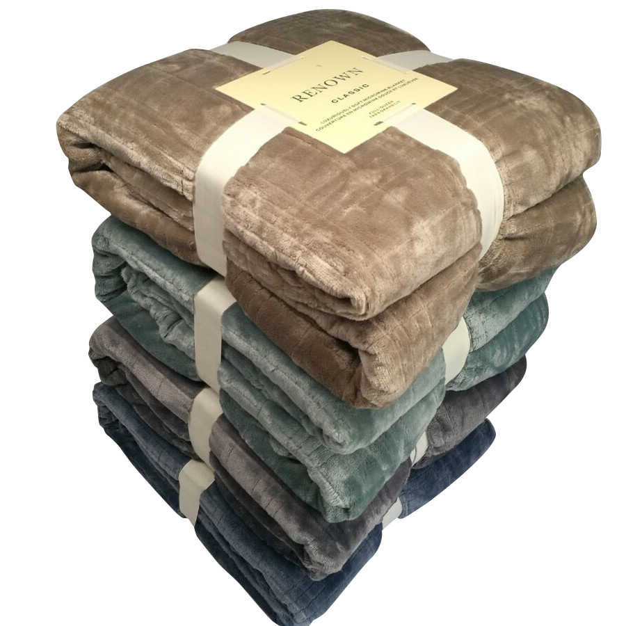 Winter Thickening Mechanical Wash Flannel Blanket Plaids Super Warm Soft Blankets Throw on Sofa/Travel Patchwork Solid Bedspread