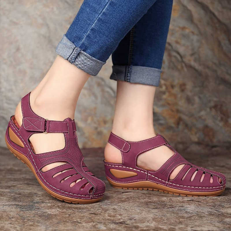 Giày Xăng Đan Nữ Đế Mềm Giày Đế Xuồng Nữ Mùa Hè Giày Sandal Wedge Gót Võ Sĩ Giác Đấu Giày Xăng Đan Casual Bãi Biển Chaussures Femme