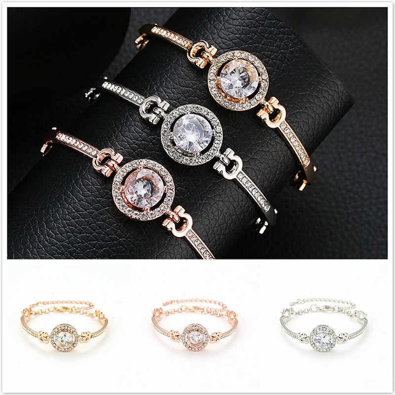 2019 Hot Sale Contracted Noble Rhinestone ID Bracelets High Quality Golden Plated Get Married Bracelet Women Fashion Gift
