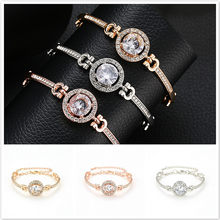 2019 Hot Sale Contracted Noble Rhinestone ID Bracelets High Quality Golden Plated Get Married Bracelet Women Fashion Gift(China)