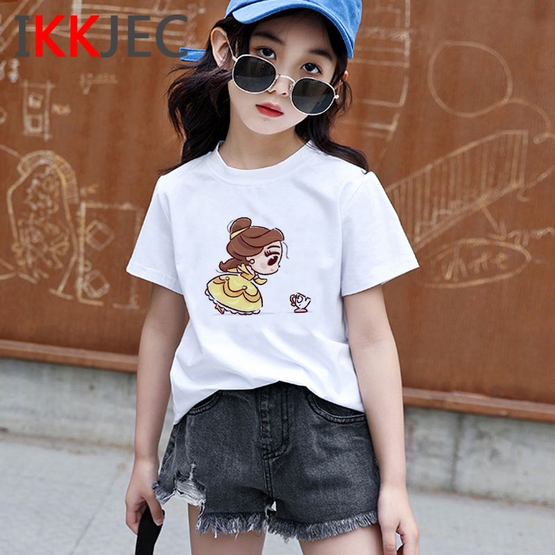 Cute Princess Funny Cartoon Print Shirt Kids Kawaii Vogue Princess Harajuku T-shirt Ullzang Fashion Tshirt Graphic Top Tee Girls