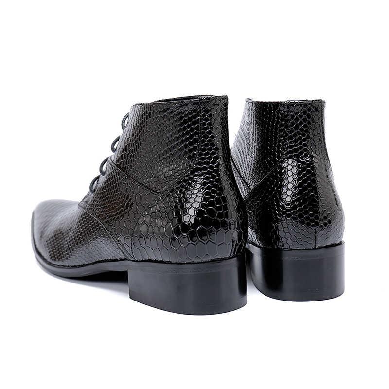 אמיתי עור מחודד הבוהן zip שחור דגים בקנה מידה קרסול מגפי עקב נמוך מגפיים רשמיים אופנה מסיבת שלב שמלת נעליים