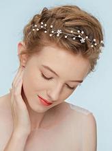 Silver Bridal Headpiece Rhinestone Headband Wedding Headband Pearl Vintage Wedding Hair Bands for Brides cheap Fxmimior