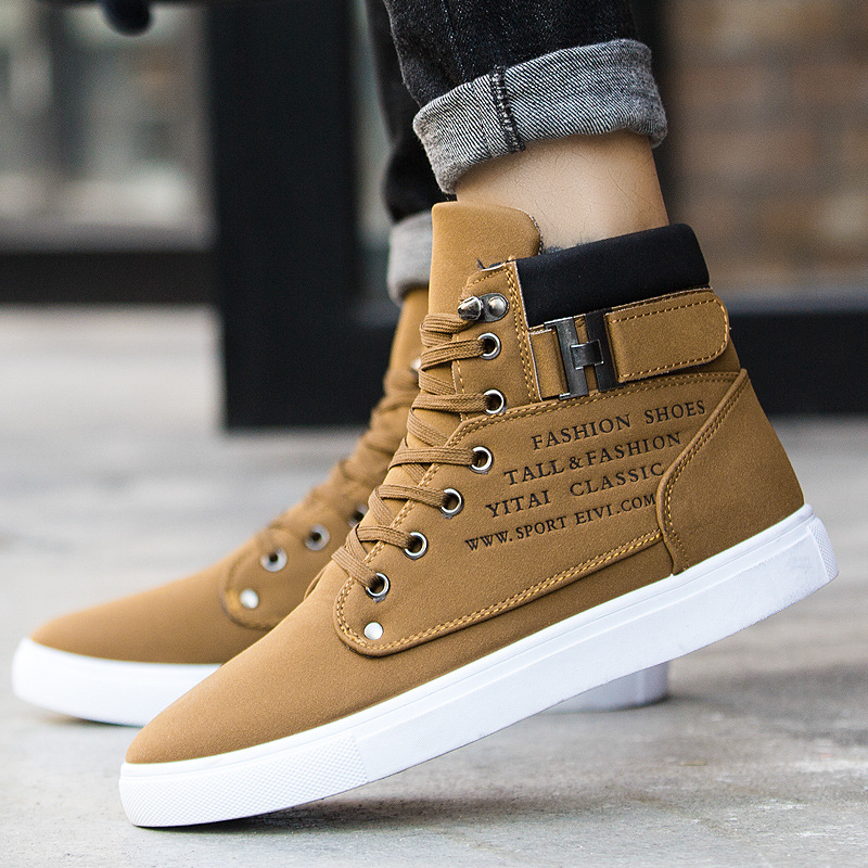 Men's Sneakers 2019 H Autumn And Winter Matte Leather High Top Men's Shoes Large Size Size 47 Retro Casual Men's Boots Male