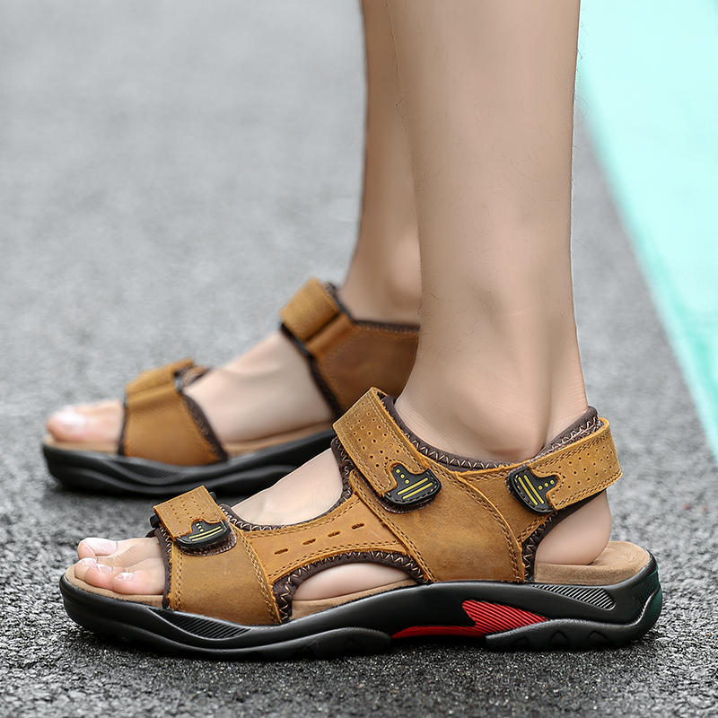 men Shoes Genuine Leather Men Sandals outdoor Summer Men Shoes Beach Fashion Casual Non-slip rubber Footwear big size 48