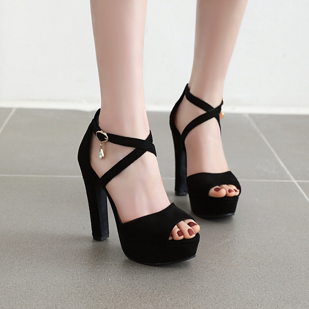 New Wedding Women Sandals High Heels Solid Ankle Strap Platforms Women Shoes  Fashion Sexy Black Party Ladies Sandals Shoes Shoes For Sale Womens Loafers  From Liucpik, $27.92| DHgate.Com