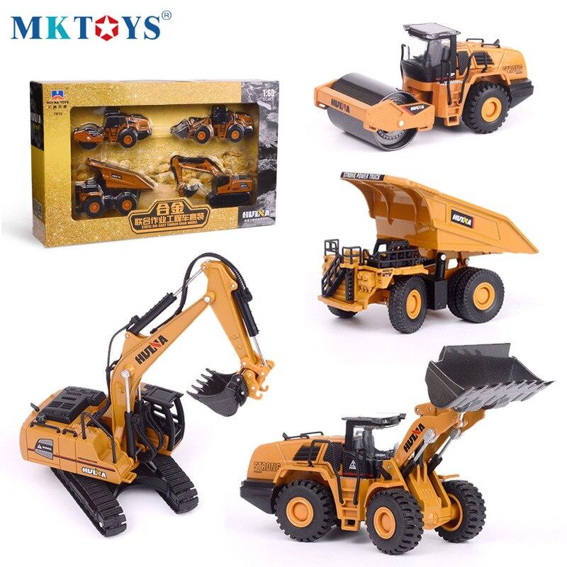 HUINA 1:60 Diecast Metal Model Dump Truck Excavator Wheel Loader Road Roller Construction Vehicle Toy  Gift Truck for Children