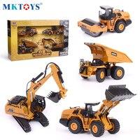 HUINA-excavadora de juguete para niños, modelo de Metal fundido a presión 1:60, camión de juguete para regalo