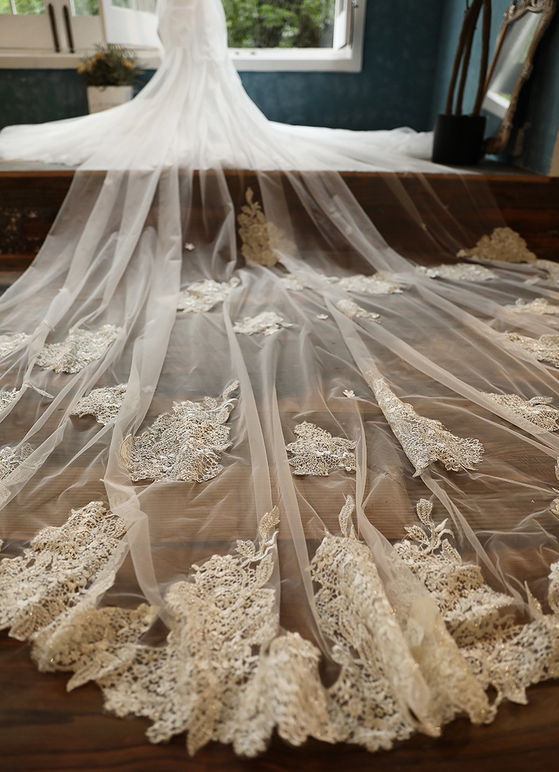 New Arrival Wedding Veil 3 Meters Long Bridal Veils Ivory White Applique One-layer  Bride Wedding Accessories In Stock 2020