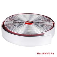 цена на 15M Chrome Car Styling Strip Trim Self Adhesive Cover Tape Window Trim Strips Chrome Bright Strips 6mm