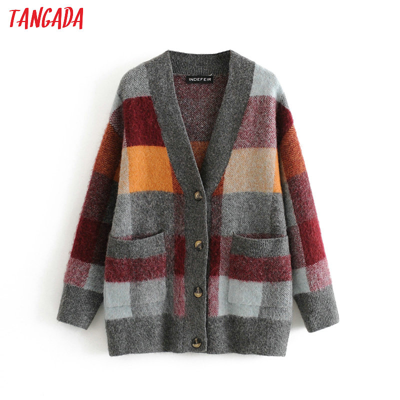 Tangada Women Elegant Oversized Plaid Pattern Cardigan Vintage Jumper Lady Fashion Spring Knitted Cardigan Coat 3H437