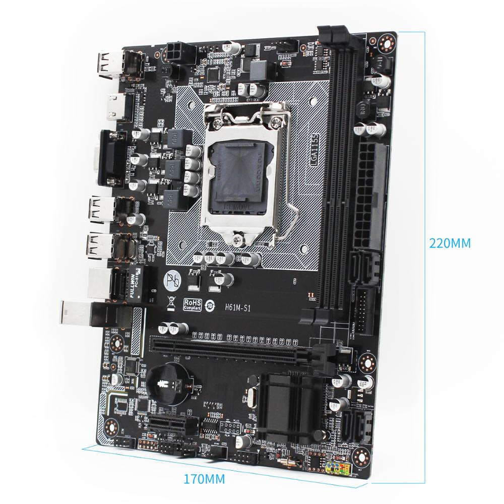 New H61M-S1 h61 motherboard LGA 1155 H61chipset socket Micro-ATX supports DDR3 Dual Channel Intel i3 i5 i7 Core Pentium H61M-S1 5