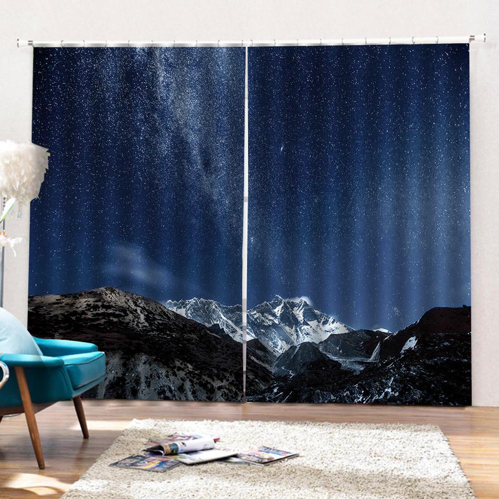 3D Шторы плотные тени окна Шторы s снег Горный пейзаж Шторы s для Гостиная 3D Ванная комната Душ Шторы - 4