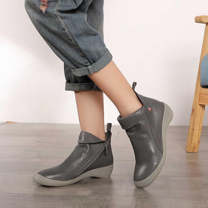 2019 VALLU sonbahar kış yeni kadın yarım çizmeler hakiki deri pilili el yapımı ayakkabı kadın kısa sıcak botları anne botları