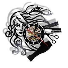 Wall-Clock Hairdresser Gifts Barber-Shop Hair-Stylist-Salon Vinyl Record Black Retro