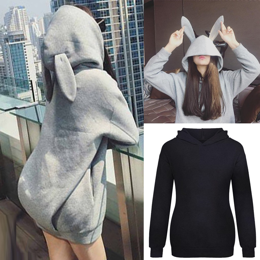 Womens Pullover Rabbit Ear Long Sleeve Hoodies Girl Sweatshirt Autumn Winter Cotton Hooded Coat Lovely Female Bunny Hoodies#G1