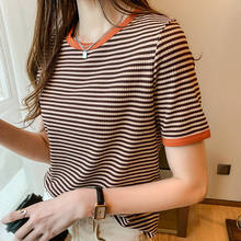 Foreign style round neck stripe short sleeve T-shirt backing shirt women's summer new niche design with top fashion