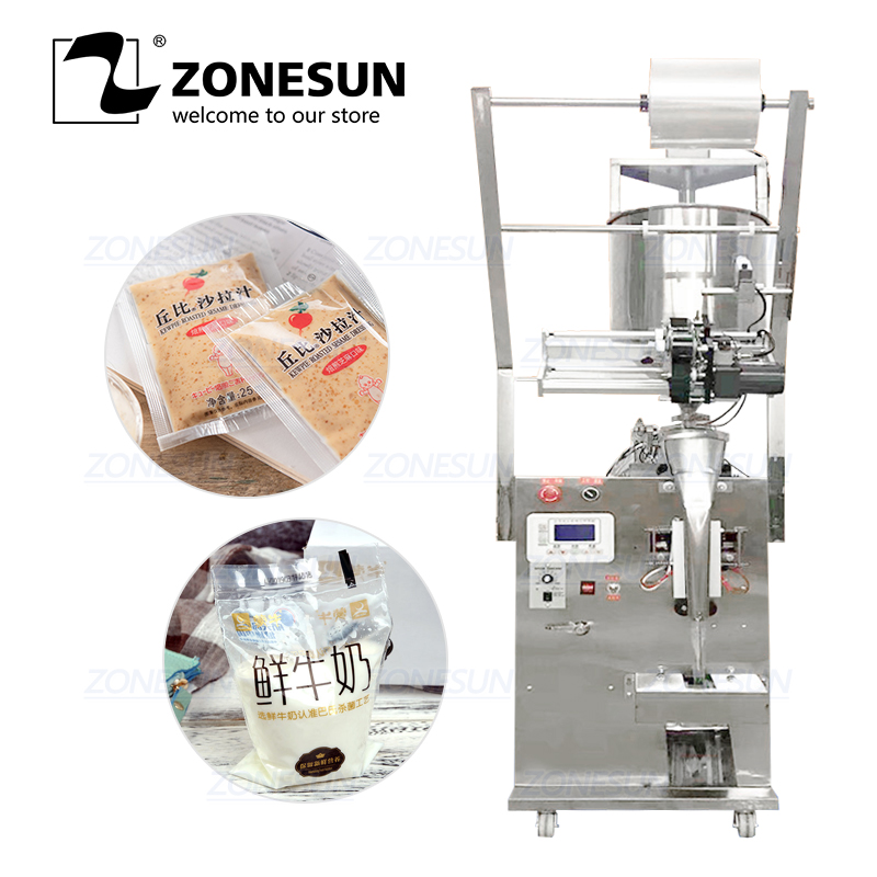 ZONESUN Automatic Paste Chili Oil Sauce Oil Vinegar Water Sealing Quantitative Liquid Packaging Machine Filling Machine
