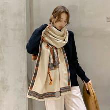 Зимний теплый длинный шарф 2020 Модный женский роскошный с принтом