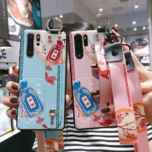 Luxury Relief Pattern With Wristband Long Lanyard Cover Case For Huawei Honor 8X 9X 10 20 V20 20i P20 P30 Mate 20 30 Pro Lite(China)