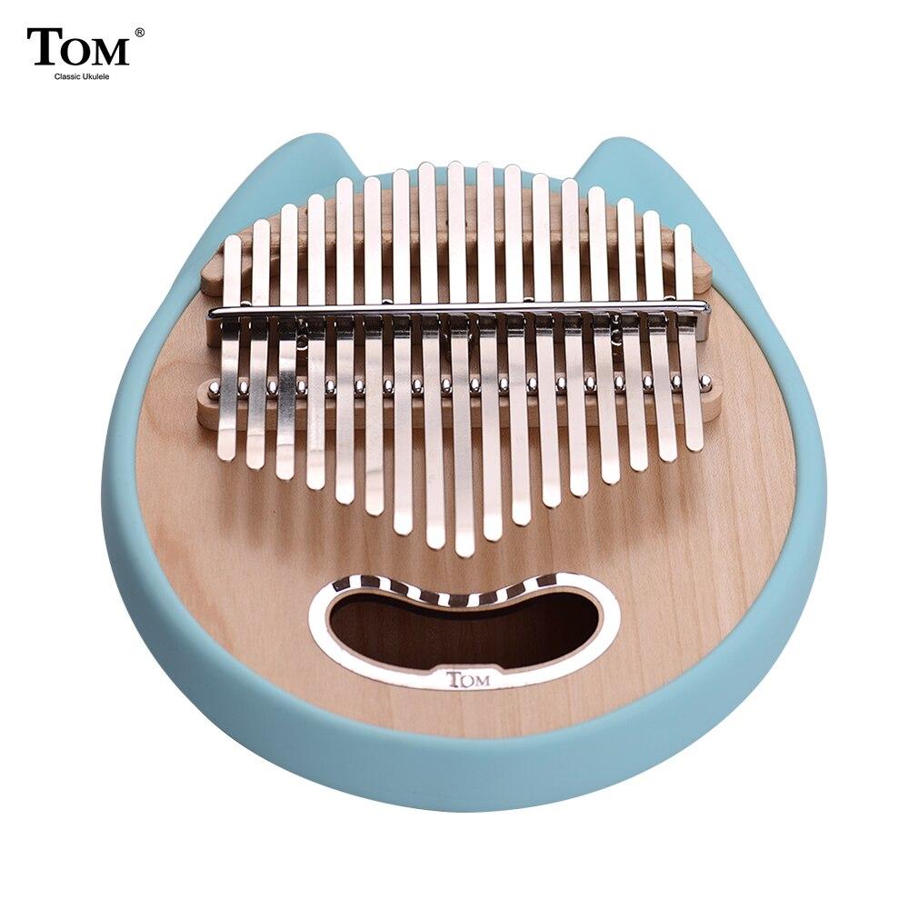 17 клавишным круглый Форма милые «пианино для больших пальцев» калимба клена с сумкой для переноски музыкальная нота наклейки молоточек для...
