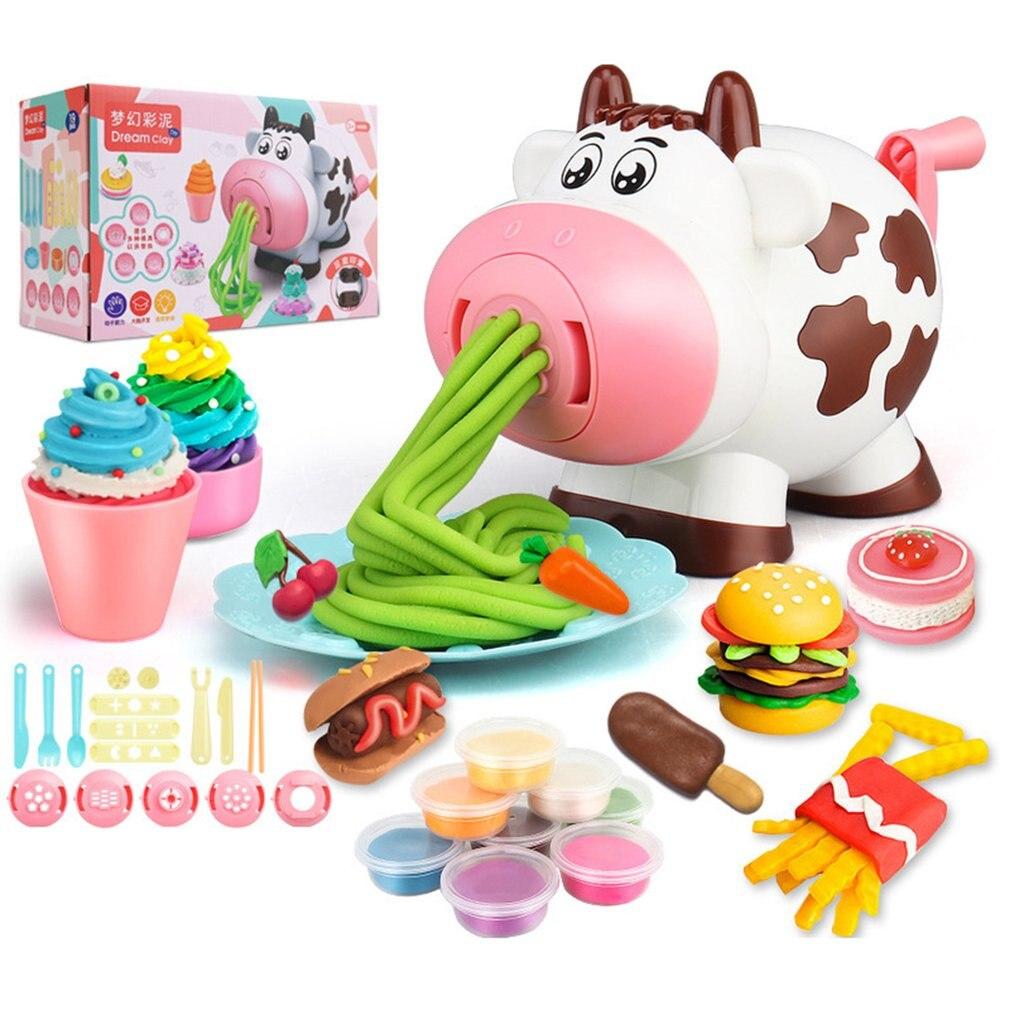 Noodles Maker Ice Cream Machine Clay Mold Tool Set Creative 3D Mud Handmade Nontoxic Clay Pretend Play Cartoon Dough Toys