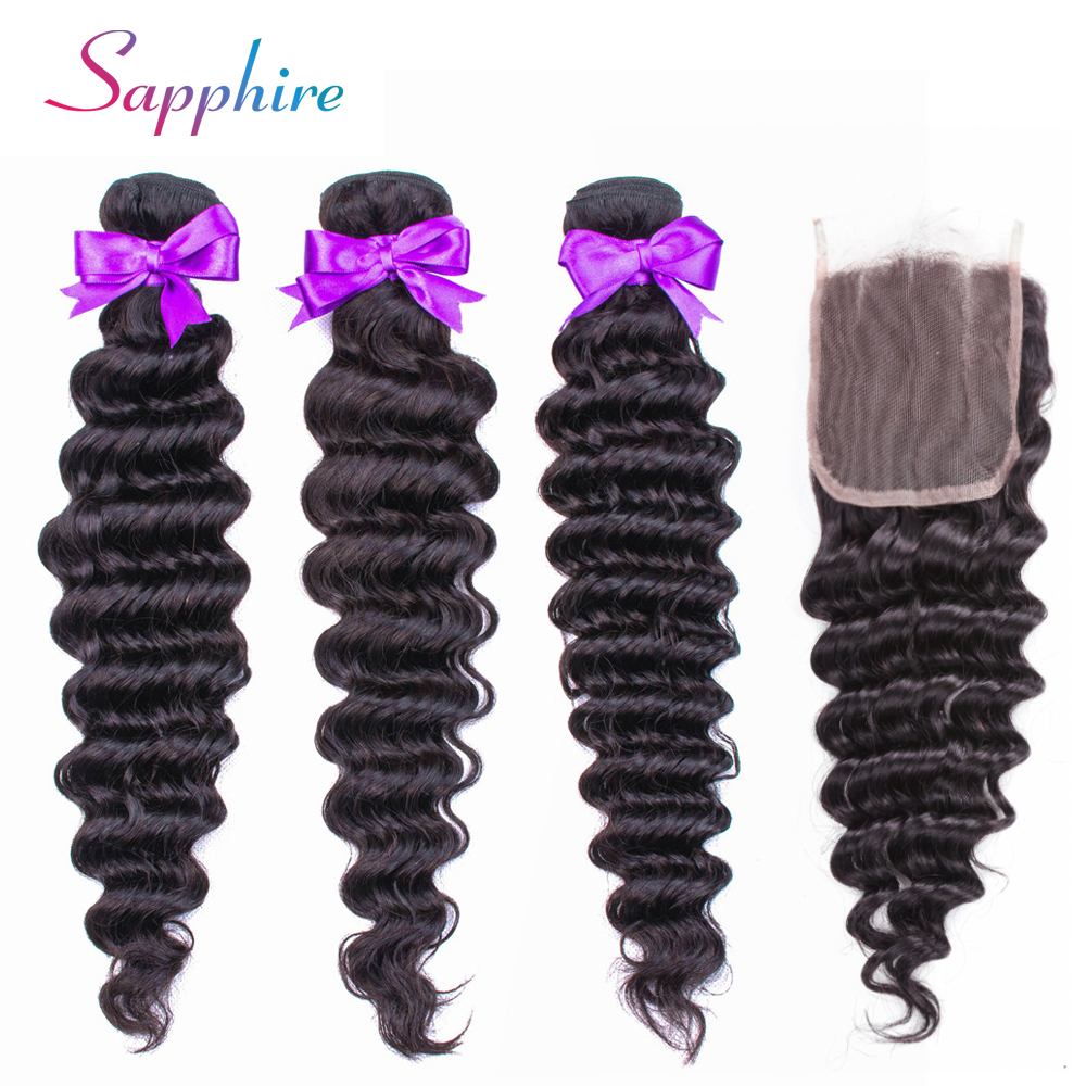 Deep Wave Bundles With Lace Closure Hair Brazilian none Remy human Hair Weave Bundles With Closure natural color Extension-in 3/4 Bundles with Closure from Hair Extensions & Wigs    1