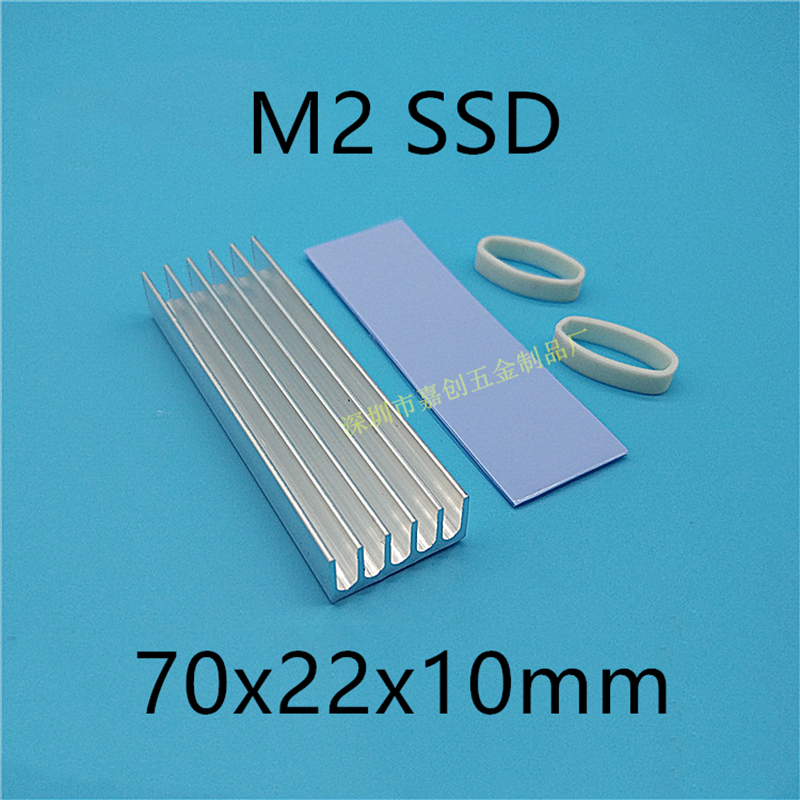 M.2 SSD Hard Disk Heat Sink With Thermal Pad  70x22x10MM Laptop Hard Disk Ssd Aluminum Fin