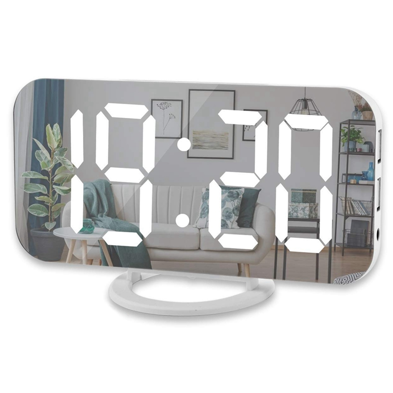 Digital Alarm Clock,6 Inch Large Led Display With Dual Usb Charger Ports Auto Dimmer Mode Easy Snooze Function, Modern Mirror De