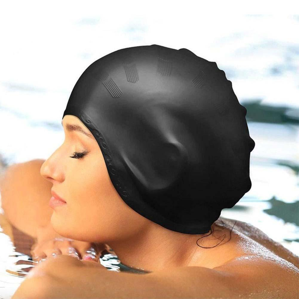 EE/_ Silicone Waterproof Protect Ears Long Hair Swimming Cap Hat for Adults Mysti