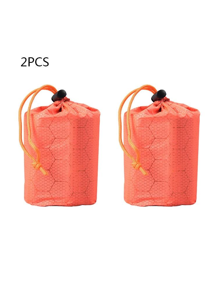 2pcs Outdoor Emergency PE Aluminum Film Sleeping Bag Storage Bag Small And Portable Anti-Dirty Silicone Snow Drawstring Bag
