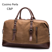 Vintage Leather Canvas Men Travel Bags Large Capacity High Quality Short Trip Travel Duffel Hand Luggage Overnight Weekender