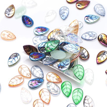 Earings Beads Glass-Petal-Beads Leave-Shape Green Crafts Pendant Jewelry-Making-Accessories