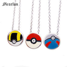 DICAYLUN Pokemon Pokeball Necklace Pikachu Pendant Stainless Steel Cute Anime Jewelry Enamel Accessories for Women Dropshipping(China)