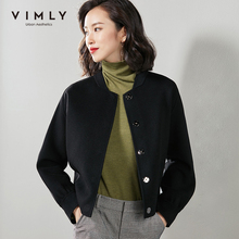 Vimly Women Double-sided Cashmere Jacket Autumn Winter Vintage Solid Single Breasted Thick Slim Casual Female Short Coat 3280H