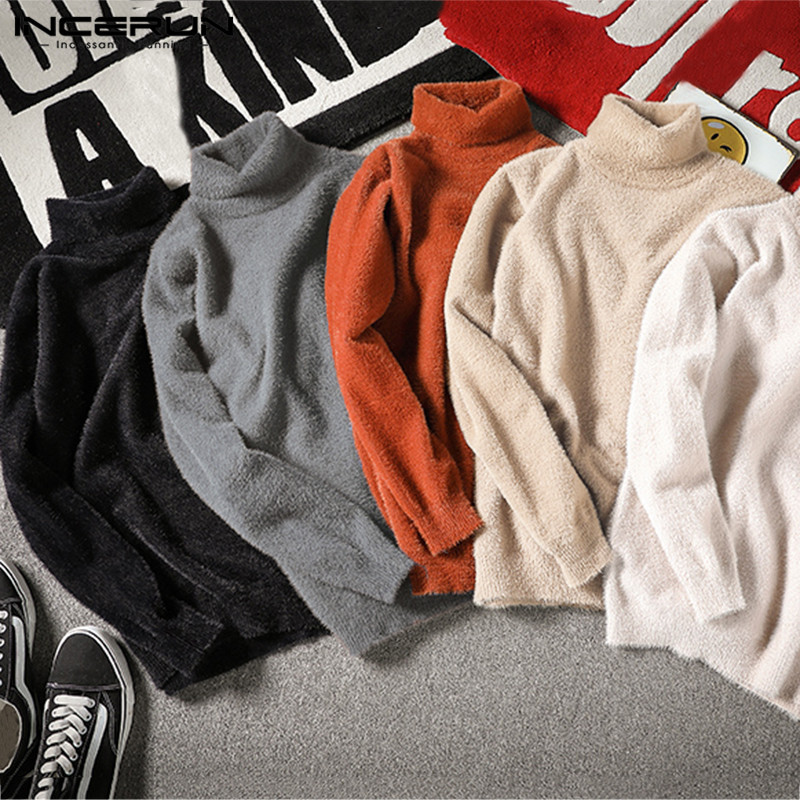 INCERUN Men Hight Neck Warm Pullovers Sweater Leisure Pure Color Long Sleeve Sweatshirt Men's Baggy Autumn Tops Camisa Plus Size