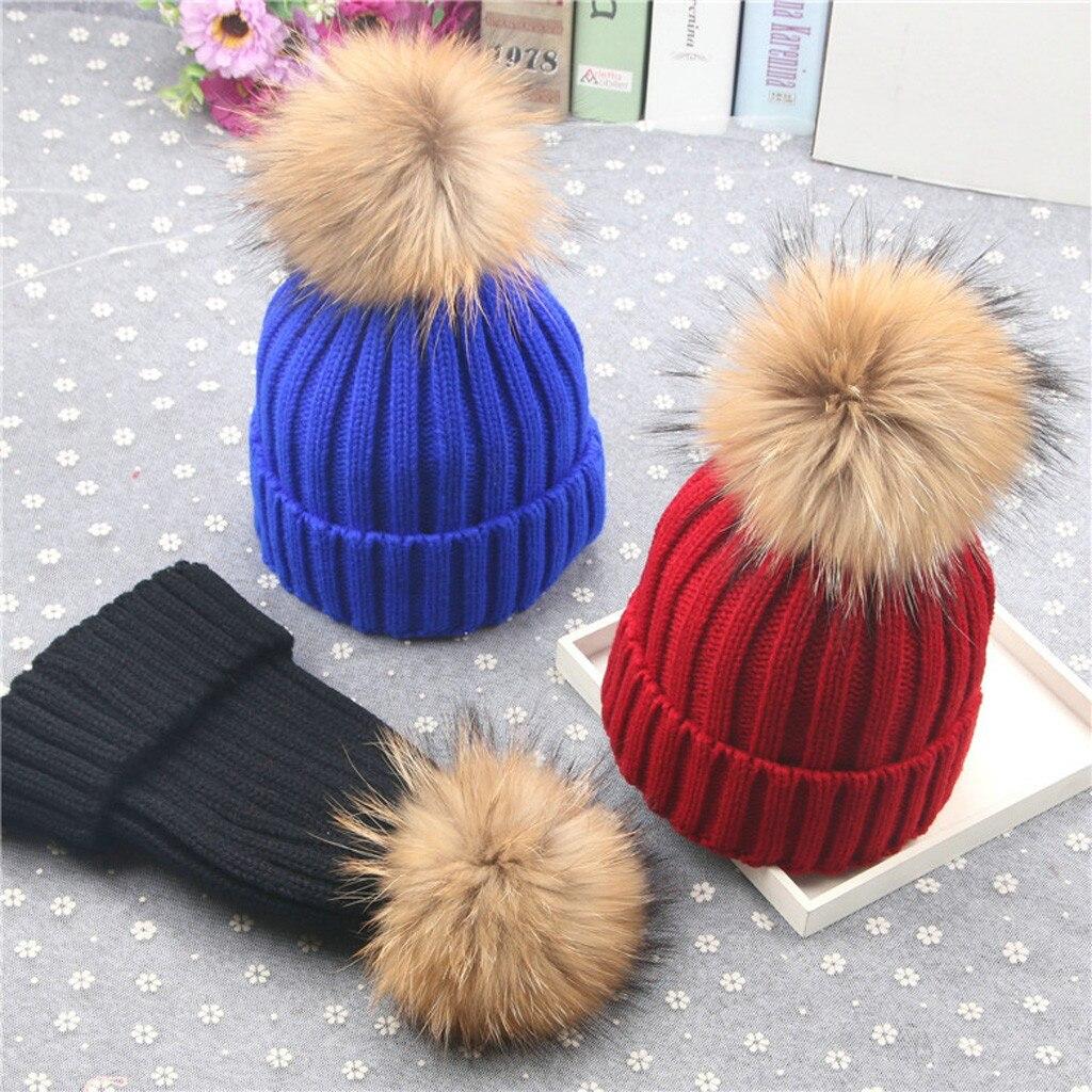 Winter Mom Women Baby Kids Crochet Knitted Hat Caps Children Girl Boy Wool Fur Bobble Ball Pompom Beanies Hats #YL5