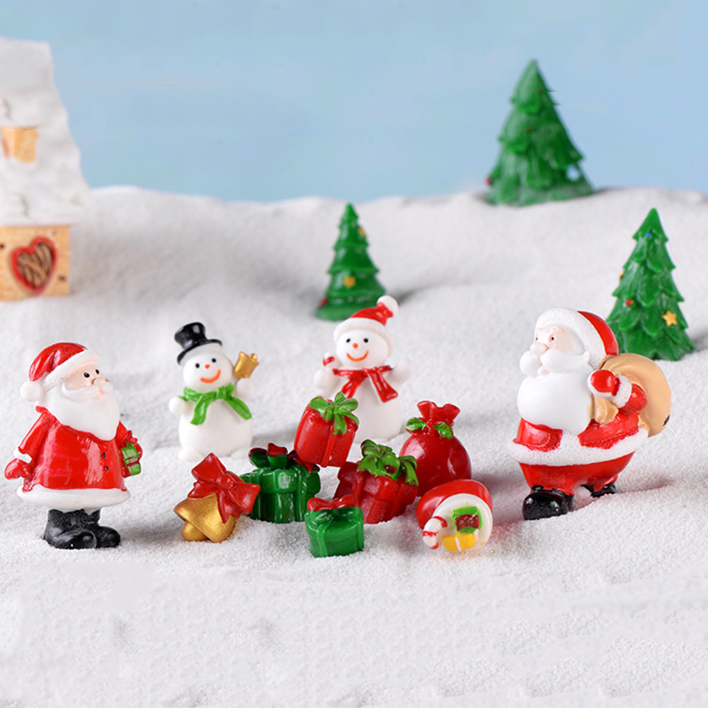Garden Christmas Decorations Mini Santa Claus Snowman Figurine Xmas Ornament