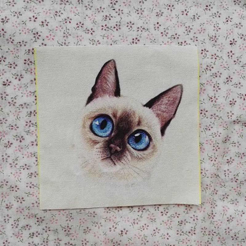 DIY 12x12 ซม.แมวรูปแบบย้อมผ้าฝ้ายผ้าสมุดภาพผ้า Patch Bundle เย็บผ้าหัตถกรรมสำหรับ Handmade