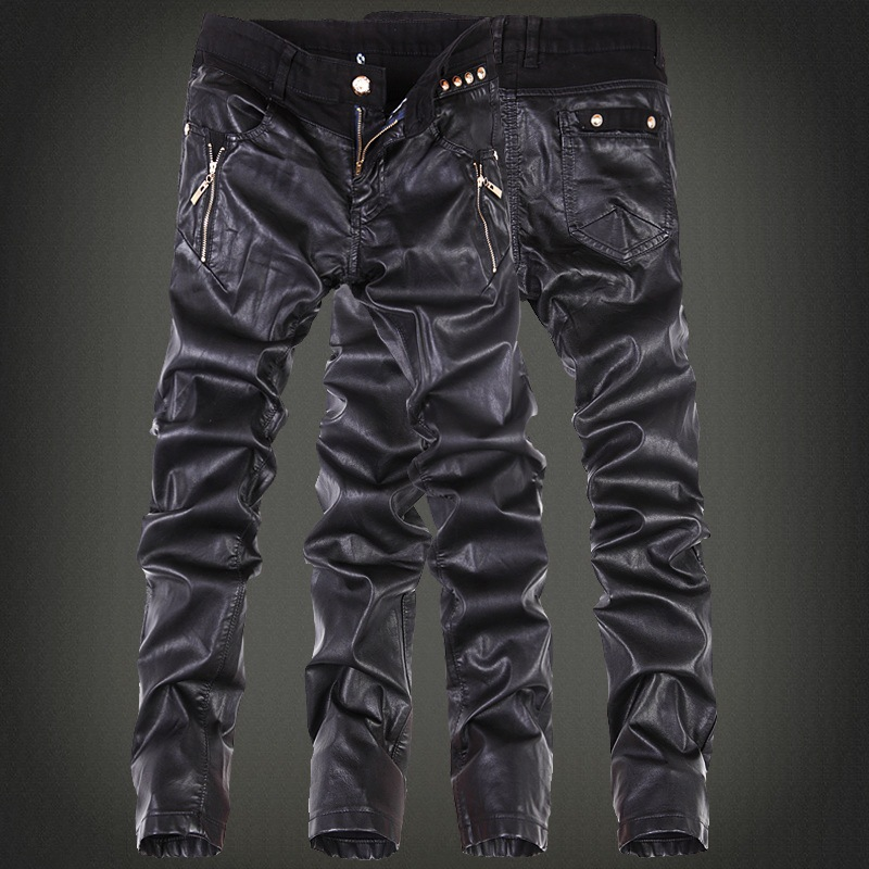 2016 New Style Fashion Joint PU Leather Pants Boot Pants Fashionable Men Black Slim Fit Korean-style Leather Pants Youth Slim Fi