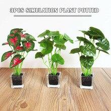 3PCS Cafe Lifelike Home Decoration Glass Pots Mini Artificial Plant Office MJJ88