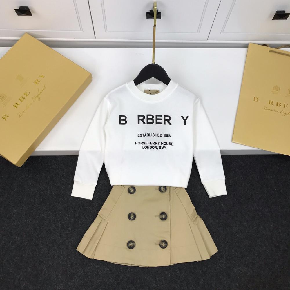 BB automne mode blanc lettre T-shirt + kaki poche ceinture un mot jupe costume fille doux coton jupe costume livraison gratuite