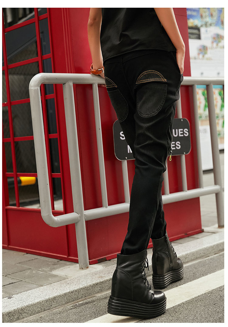 3d LuLu 女性デニムズボン 最大ルル春のファッションヴィンテージ弾性ハーレムパンツ韓国レディースブラックスキニーリッピング 37
