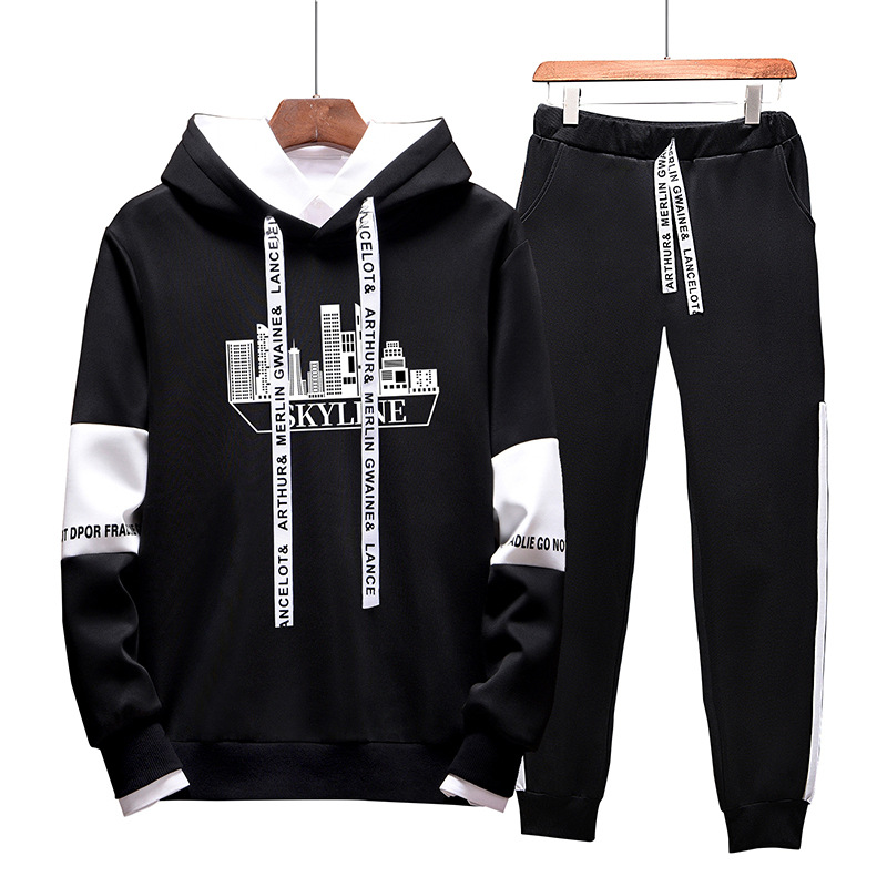 Hoodie Suit Men's Hooded Autumn And Winter Korean-style Trend 2019 New Style Men Autumn Casual Loose-Fit Sports Set