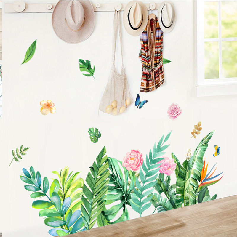 Creative Tropical Tree Leaves flower Flamingo Wall Stickers DIY Green Plant leaf Wall Decals for Living Room Home Decor murals